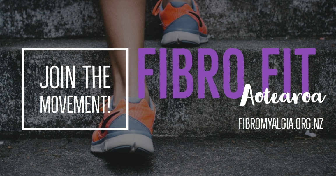 "Image depicts a promotional header for ""Fibro Fit Aotearoa."" The background image is dark, showing the feet of someone wearing sneakers, climbing outdoor stairs. On the left, it says ""Join the movement!"" in a white box. On the right it says ""Fibro Fit Aotearoa"" with the website fibromyalgia.org.nz underneath."